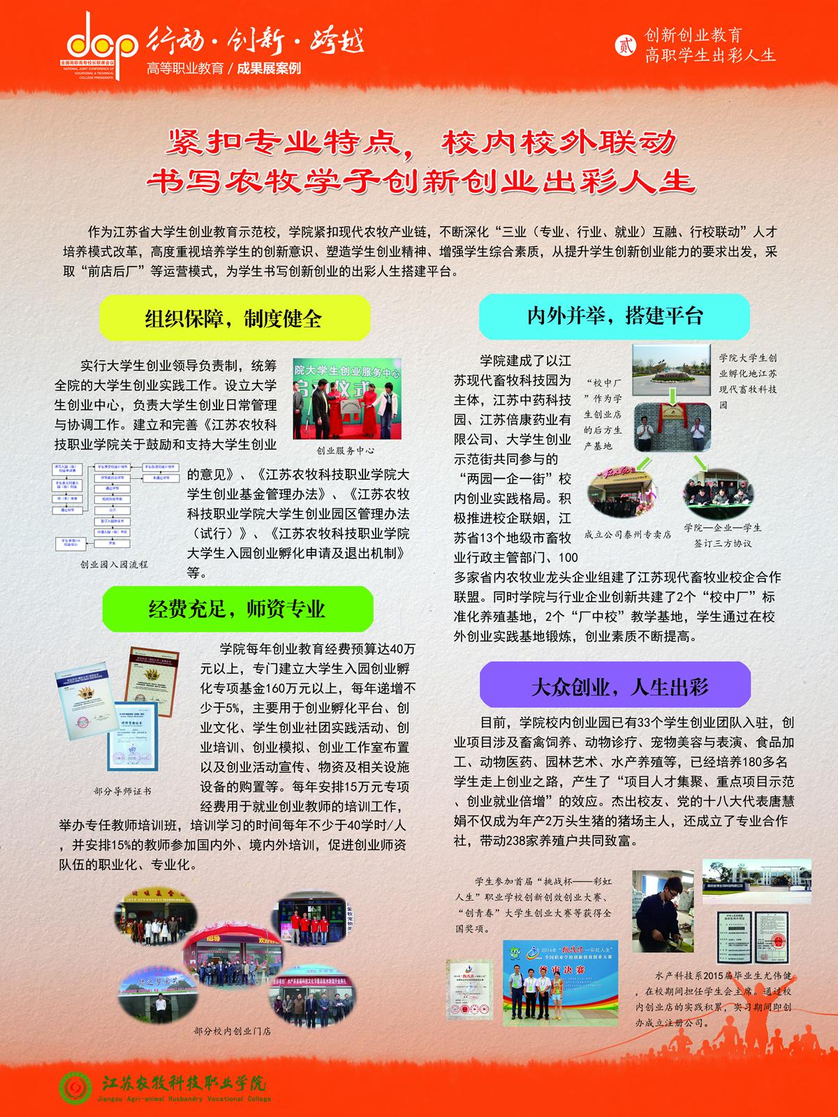 江苏农牧科技职业学院+宣传展板+创新创业教育