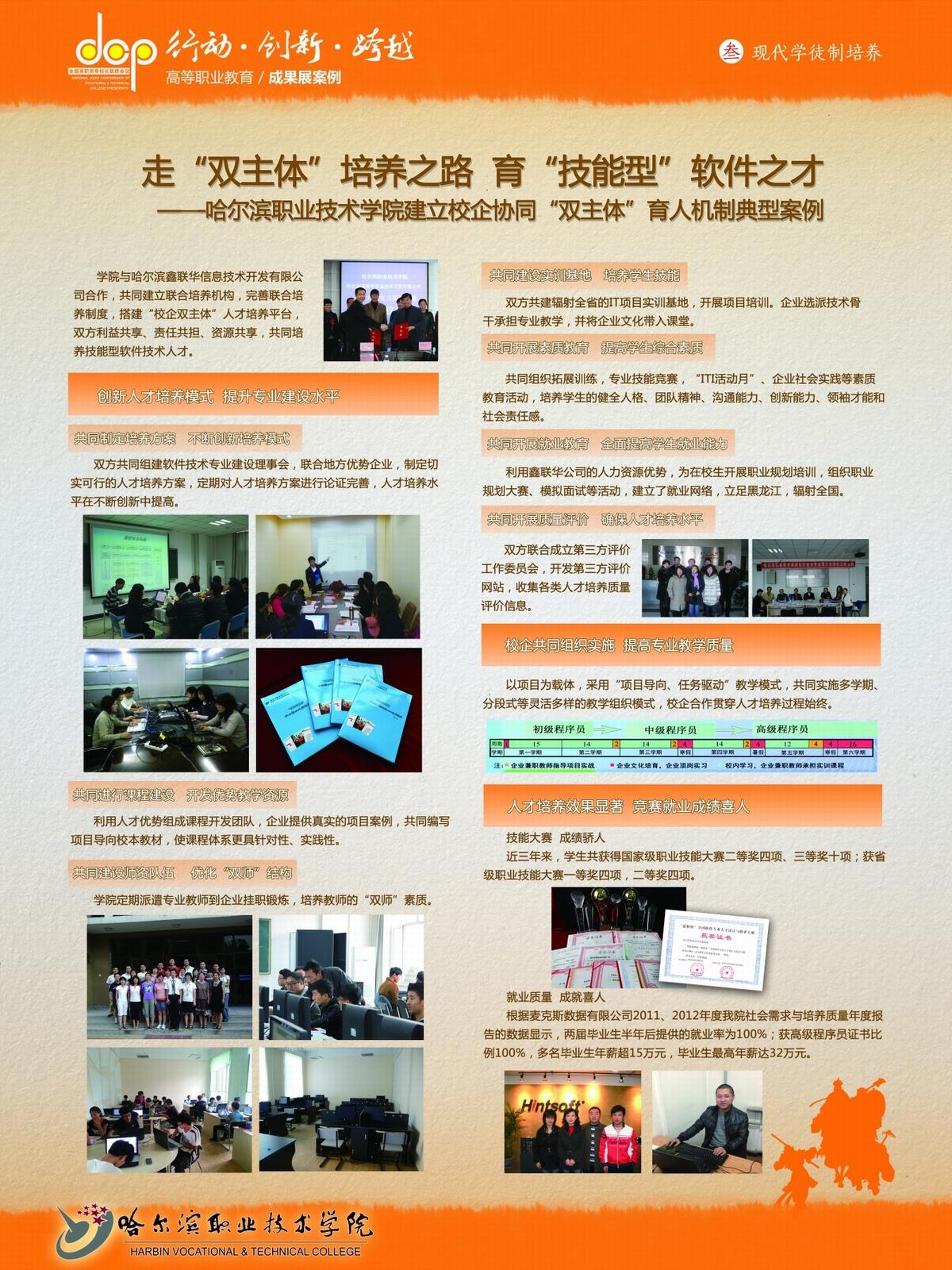 """哈尔滨职业技术学院+宣传展板+建立校企协同""""双主体"""""""